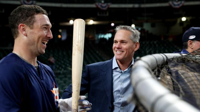 PB SPEAKER CRAIG BIGGIO DOESN'T FLINCH AN INCH ON FOUL TIP AT TUESDAY NIGHT'S ASTROS GAME